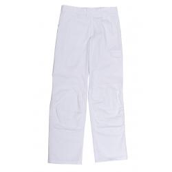 Pantalon de peintre blanc ceintrue réglable et poches genoulillére