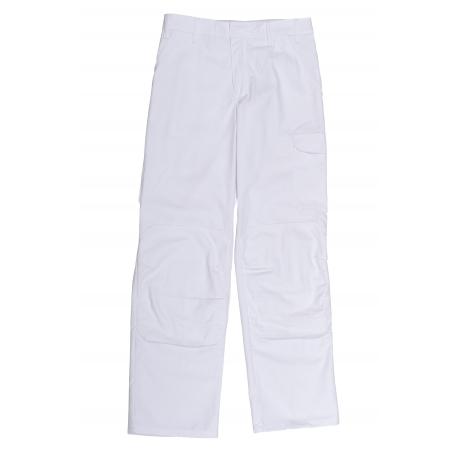 Pants painter white ceintrue adjustable and pockets genoulillére