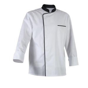 Veste de cuisine manches longues blanche avec col et liseré noir pour homme Robur