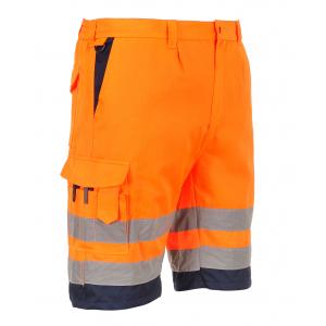 Bermuda de travail haute visibilité orange et marine