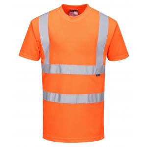 T-shirt haute visibilité orange avec bandes réfléchissantes