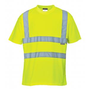 T-shirt haute visibilité jaune manches courtes avec bandes réfléchissantes