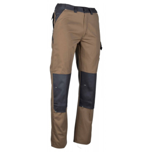 Pantalon de Travail Forgeron - Lebeurre - Châtaigne/gris sombre avec poche Genouillère