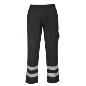 Pantalon de travail noir avec bandes réfléchissantes