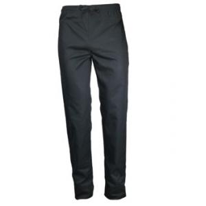 Pantalon de cuisine noir avec pression et cordon de serrage - PBV