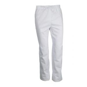 Pantalon de cuisine blanc avec pression et cordon de serrage - PBV