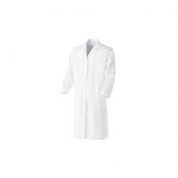 Blouse blanche en coton - PBV - Manches longues et fermeture pressions - Mixte