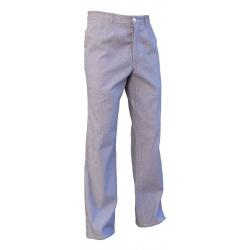 Pantalon de cuisine en coton pied de poule bleu et blanc - PBV