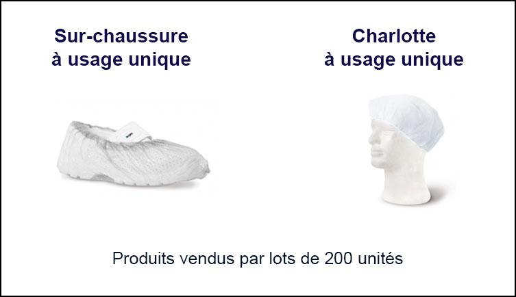 sur-chaussure et charlotte jetable